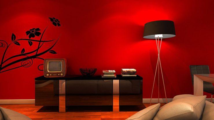 красный ламинат в интерьере